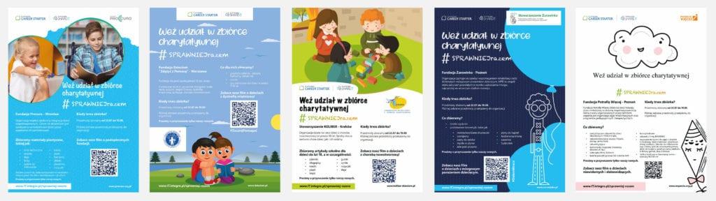 Plakaty informujące o zbiórce charytatywnej w IT.integro